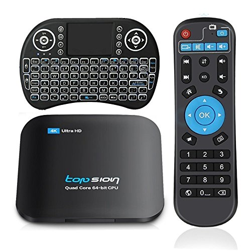 Topsion 32G TV Box + Wireless Keyboard, 3G RAM 32G ROM 5.0GHz/2.4GHz Dual Band WiFi Android 6.0 Quad Core Support Bluetooth 3D 4K