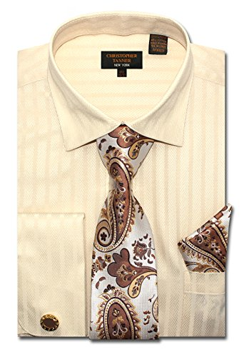 Christopher Tanner Men's Regular Fit Dress Shirts with Tie Handkerchief Cufflinks Combo Herringbone Stripe Pattern Ivory
