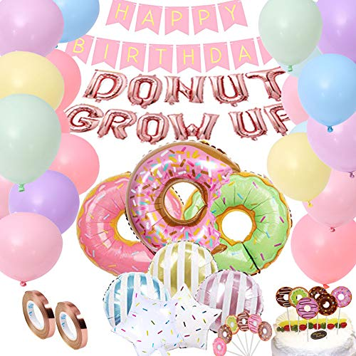 DXary Donut Party Supplies Kit, Donut Grow Up Foil Balloons Birthday Garland and Colorful Latex Balloons Donut Balloon CupcakeToppers for Donut Birthday Party Decorations
