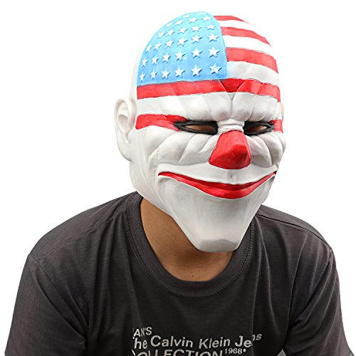 Star Clown Costumes (Monstleo Halloween Costume Masquerade Scary Clown Mask Party Latex Adult Head Flag Clown Mask)