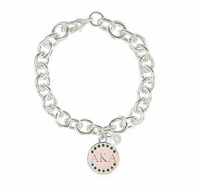 db4802497 Amazon.com: Navika Pink Signature Alpha Kappa Alpha (AKA) Charm + Pearl  Charm Silver Link Bracelet: Jewelry