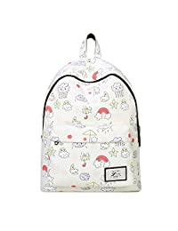 """Artone Rainbow Clouds Water Resistant Big Capacity Backpack Padded School Daypack With Laptop Compartment Fit 15"""" Notebook Beige"""