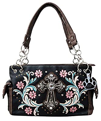 HW Collection Western Rhinestone Cross Pink Roses Vines Carry Concealed Handbag Purse and Wallet Set