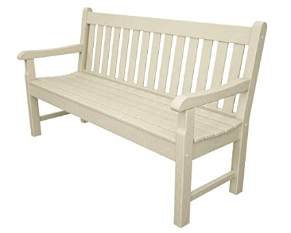 Fine Amazon Com Polywood Rockford 60 Inch Bench Sand Outdoor Bralicious Painted Fabric Chair Ideas Braliciousco