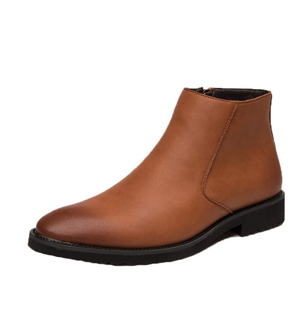 Qiusa Herren Slip auf Chelsea Stiefel Soft Sohle Rutschfeste Atmungsaktive Casual Stiefeletten (Farbe   Braun, Größe   EU 40)