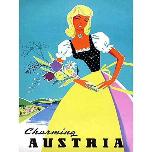Wee Blue Coo Travel Tourism Austria Traditional Costume Flowers Unframed Wall Art Print Poster Home Decor Premium
