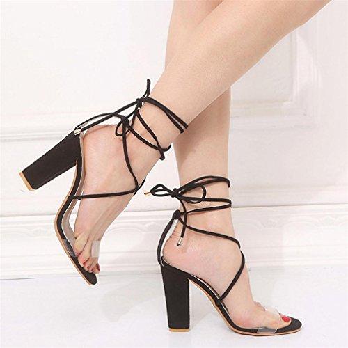 Chaussures Tongs Grande Qualité Taille Roman Chaussures Dames Noir Talons à Talons Femme Hauts Transparent Super Noir 38 Toe Sandales Ruban épais Pansements Haute Peep ELECTRI 1HqUCTfaC