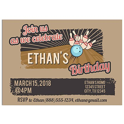 Bowling Ball Retro Birthday Party Invitations Bowling Ball Invitations