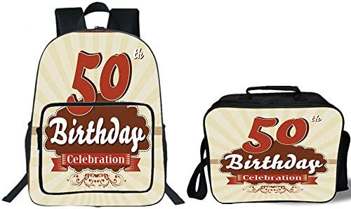 IPrint 19 School Backpack Lunch Bag Bundle50th Birthday DecorationsRetro Old Fashion Celebration Theme Stripes And DotsScarlet Brown Eggshellfor Boys
