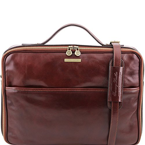 closure Brown Dark Vicenza Tuscany Leather Brown briefcase zip laptop Leather with vw1xp0H