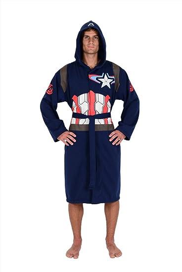 Marvel Blue Captain America Avengers Jersey Robe (One Size)