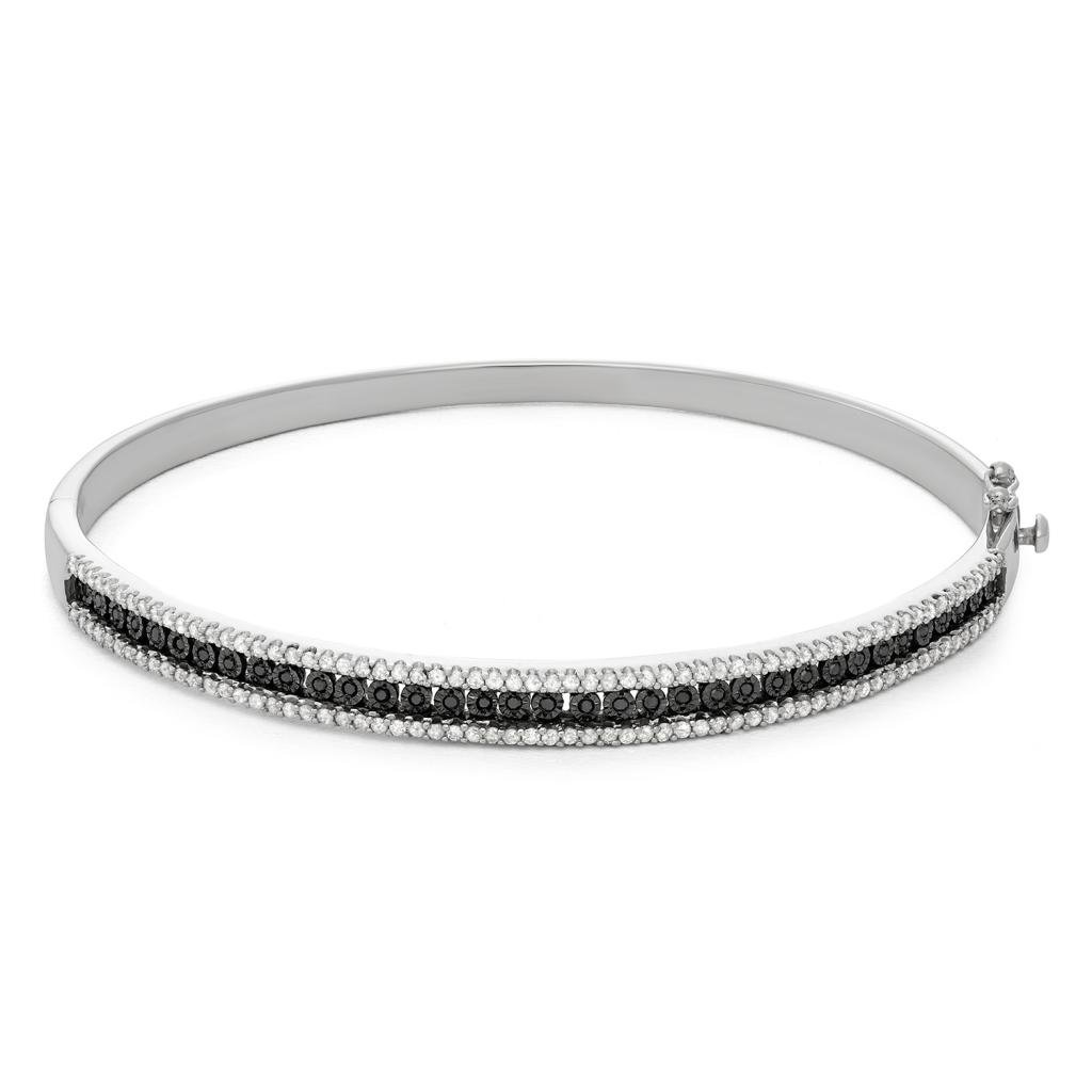 1.00 CTTW Sterling Silver Black and White Diamond with illusion plate bangle
