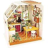 Hands Craft DG105 DIY 3D Wooden Puzzle Miniature House: Jason's Kitchen | Tiny Dollhouse Kit with LED Lights