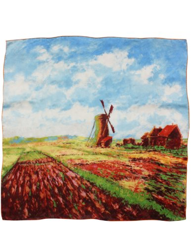 (Dahlia Women 100% Square Silk Scarf Monet - Tulip Field w the Rijnsburg Windmill)