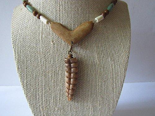 Rattlesnake Rattler & Gemstone Buffalo Bone Beaded Pendant Necklace Jewelry Statement N283
