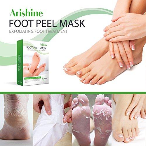 Arishine Foot Peel Mask, Exfoliating foot mask, Peels Away Calluses and Dead Skin, Olive (2 Pairs)