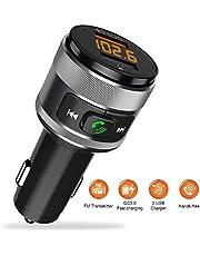 Trasmettitore FM Bluetooth 4.2 per Auto con QC 3.0 Radio Bluetooth Auto Chiamate Vivavoce Ricevitore Bluetooth Car kit con 2 Porta USB Caricabatteria per Chiavetta USB MP3 Cellulari Altri Dispositivi