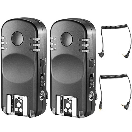 Neewer 2.4G Wireless Remote Flash Trigger Transceiver Pair with Remote Shutter Cable for Canon DSLR Cameras, Such as 1D Mark II III IV 5D Mark II III IV 1100D 1000D 700D 650D 600D 500D 450D 100D 60D ()