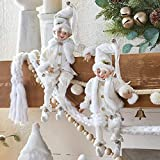 RAZ Imports Set of 2 White Cozy Knit Posable