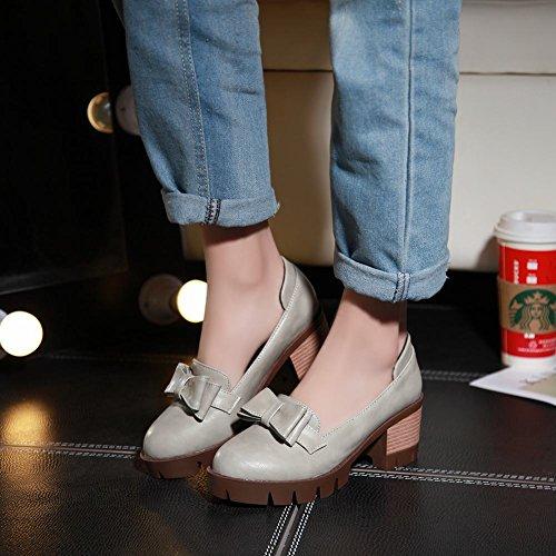 Latasa Kvinna Mode Komfort Båge Chunky Mitten Klack Slip På Dagdrivare Skor Ljusgrå