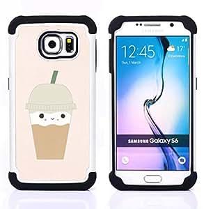 """Samsung Galaxy S6 / SM-G920 - 3 en 1 impreso colorido de Altas Prestaciones PC Funda chaqueta Negro cubierta gel silicona suave (Helado de café Corazón lindo de Brown"""")"""