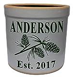 3 Gallon Personalized Stoneware Crock – Pinecone For Sale