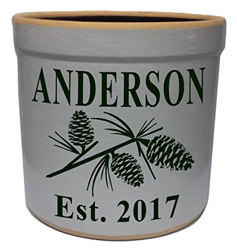(3 Gallon Personalized Stoneware Crock - Pinecone)