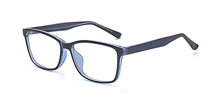 90733ce291f Kelens Casual Fashion Horn Rimmed Simple Rectangular Business Glasses Blue