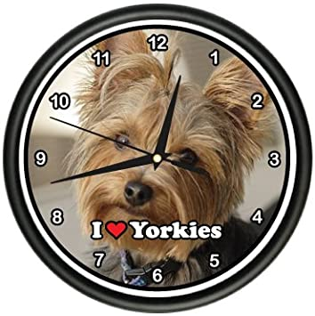 SignMission Yorkie Wall Clock Dog Yorkshire Terrier Owner Gift, Beagle Dog pet Dogs Puppy Breeder, 1YORKIE