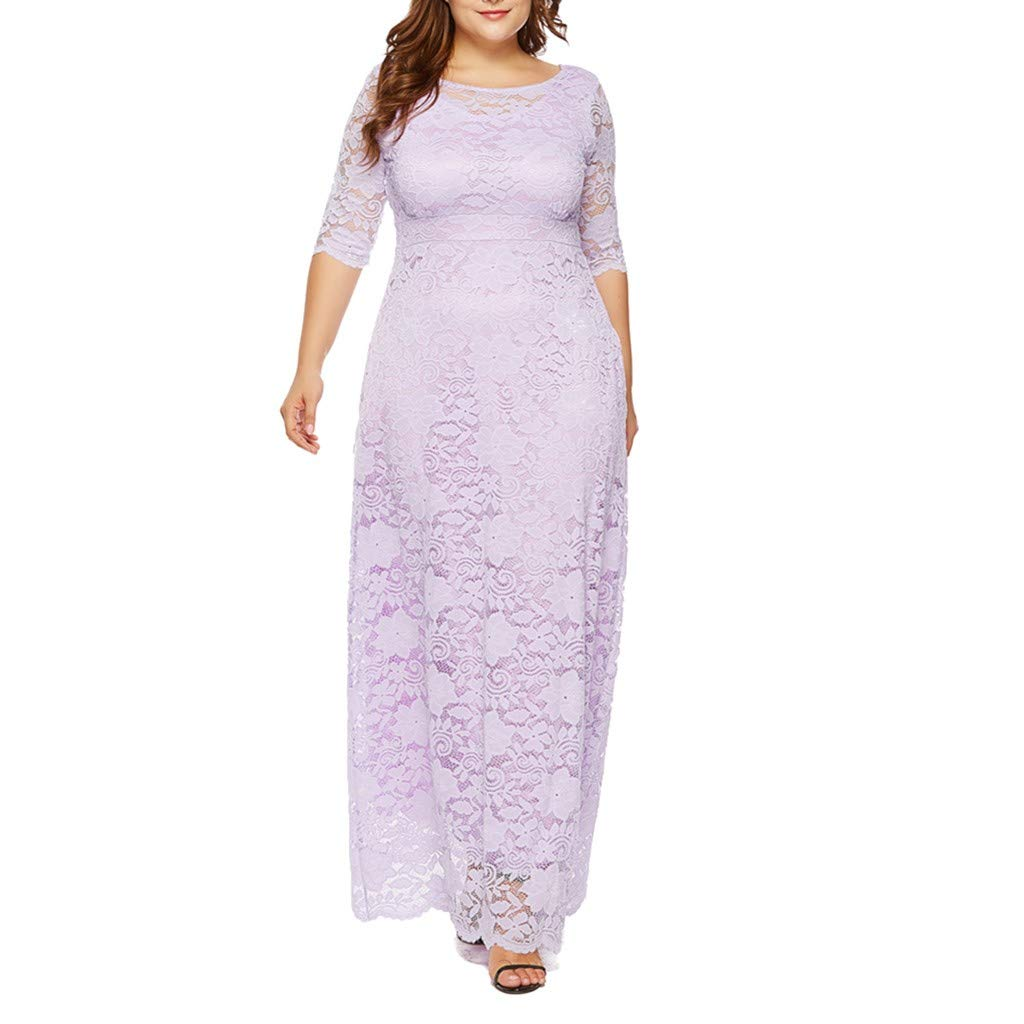Kangma Women Solid Oversize Vintage Floral Lace Plus Size Cocktail Formal Swing Dress Kangma01 KANGMA-22