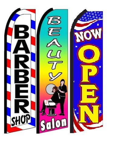 Barber shop , beauty salon, Now Open King Swooper Feather Flag Sign- Pack of 3 (Shop Salon)