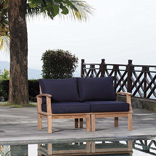 Modway EEI-1822-NAT-NAV-SET Marina Premium Grade A Teak Wood Outdoor Patio Furniture Set, 2 Piece, Natural Navy (A Furniture Teak Grade)