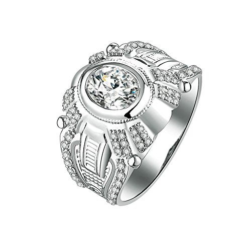 Daesar Silver Plated Rings Men Wedding Bands Custom Ring Round Pattern CZ Ring Size 11.5