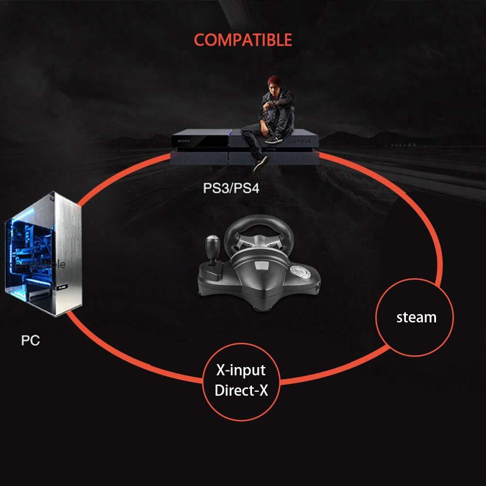 Trailblazer Racing Wheel - Pedales de freno y gas altamente sensibles, compatibles con STEAM con vibración, consola de juegos de ordenador, volante de ...