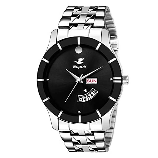 Espoir Analog Stainless Steel Day And Date Black Dial Men's