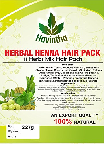 Natural Herbal Henna 11 Herbs Mix Hair Pack 8 oz,Product of Havintha, 227g ()