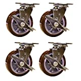 6 Inch Heavy Duty Swivel Casters with Brakes - Non Marking Polyurethane Wheel - Service Caster Brand Set of 4