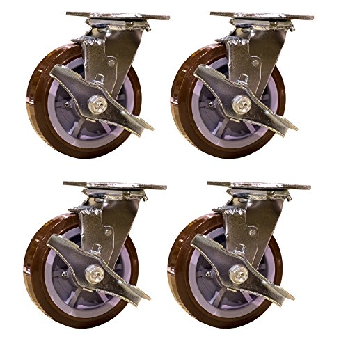 Service-Caster-SCC-30CS620-PPUR-TLB-4-Heavy-Duty-Swivel-Casters-with-Brakes-Non-Marking-Polyurethane-Wheel-Pack-of-4