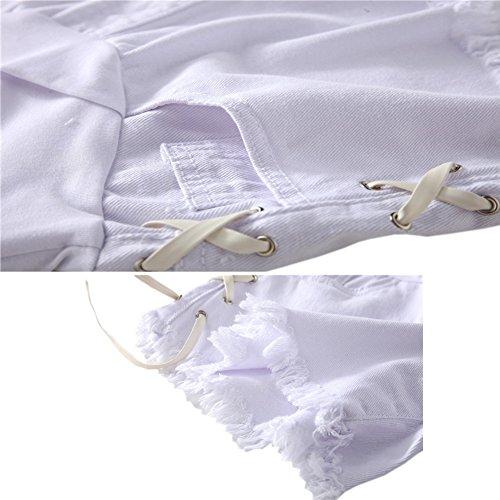 Denim de lastique ventre Style13 Shorts Neuf Jeans Mode Blanc Deylaying soutien Femme Maternit wCIIHa