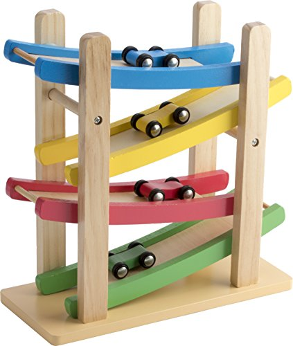 Play22 Wooden Car Ramps Race - 4 Level Toy Car Ramp Race Track Includes 4 Wooden Toy Cars - My First Baby Toys - Race Car Ramp Toy Set is A Great Gift for Boys and Girls - Original