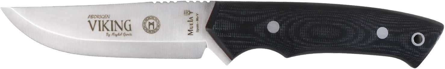 Electropolis Cuchillo de Caza Muela Viking, cachas micarta Negra, Hoja de 11 cm, 228 Gramos, Incluye Funda de Piel de Color Negro, Viking.M-11M + Tarjeta Multiusos de Regalo: Amazon.es: Electrónica