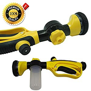 Garden Hose Nozzle / Hand Sprayer / Car Wash Sprayer with Soap Dispenser / Ultimate Garden Hose Attachment! Can Be Used Without the Reservoir - Plant & Garden Fertilizing /Watering / Washing Pets!