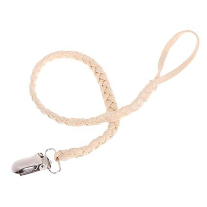 MIsha Chupete cordones cordón de cuero trenzado Clip chupete ...