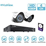LaView IP 1080P HD Built-in PoE 2 Cameras 4 Channel NVR Security Camera System with 1TB and 2 of 2MP Bullet Cam Surveillance For Sale