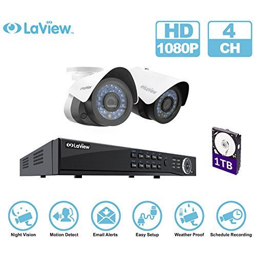 LaView IP 1080P HD Built-in PoE 2 Cameras 4 Channel NVR Security Camera System with 1TB and 2 of 2MP Bullet Cam Surveillance by LaView