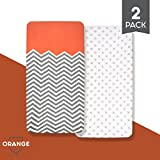 "Best Convertible Cribs with Changing Table Organic Cotton Crib Sheet Set: Standard Full Crib Mattress Sheets! (2 Pack) Baby Sheets For Crib, Soft, Comfortable, Unisex, For Infants and Toddlers, 52""x28""x9""! (Orange Collection)"