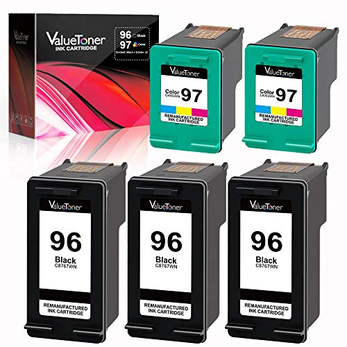 Valuetoner Remanufactured Ink Cartridge Replacement for HP 96 & 97 C8767WN C9363WN (3 Black, 2 Tri-Color) 5 Pack (Printer Deskjet Hp 5740)