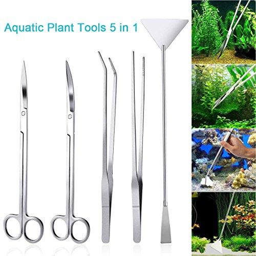 LONDAFISH Fish Tank Stainless Steel Plant Tool Set Aquarium Aquascaping Tweezers Scissors Kit 3 in 1/Substrate Spatula (5 in 1) by LONDAFISH