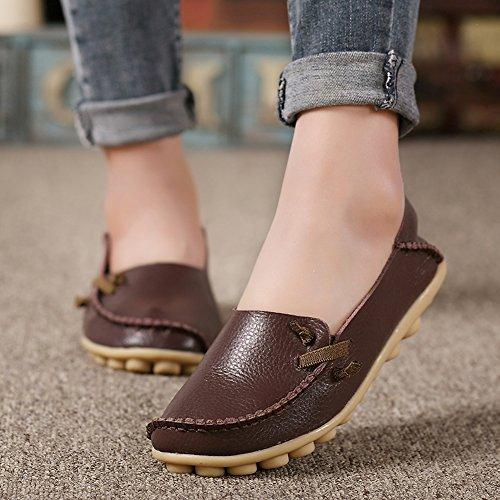 Lucksender Damen Weichleder Comfort Driving Loafers Schuhe Kaffee