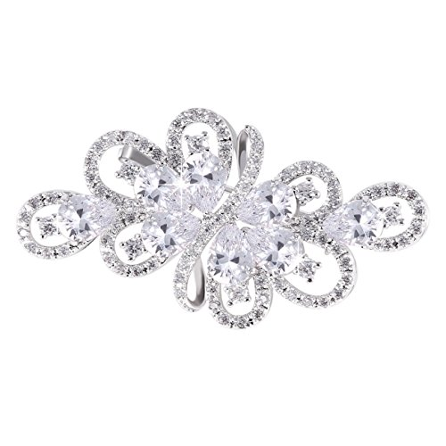 (GULICX Bridal Clear Ribbon Bouquet Brooch Silver Tone Zircon Wedding Women)